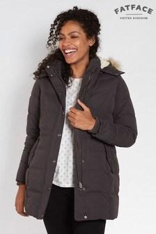 Jachetă matlasată lungă FatFace Cumbria gri antracit