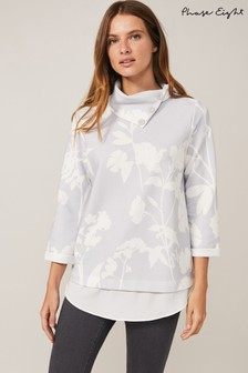 Phase Eight Grey Mica Meadow Print Top