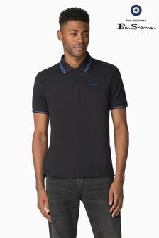 Ben Sherman Black Script Tipped Pique Polo