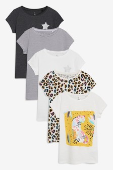 c0760c7d4e185 Animal Short Sleeve Tops Five Pack (3-16yrs)