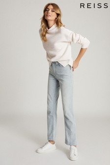 Reiss Cream Lila Ribbed High Neck Jumper