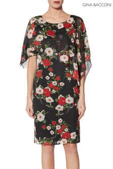 Gina Bacconi Black Niyla Print Dress And Cape