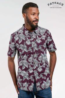 Bordowa koszula hawajska z nadrukiem tukana FatFace