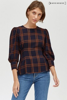 Warehouse Navy Check Puff Sleeve Top