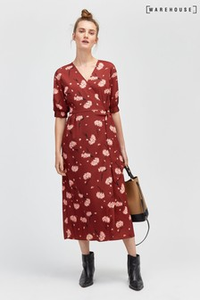 Warehouse Honey Floral Wrap Puff Sleeve Dress