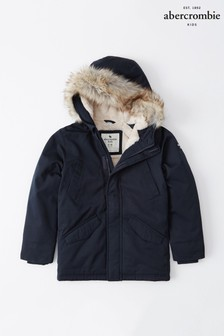 Abercrombie & Fitch Navy Parka Coat