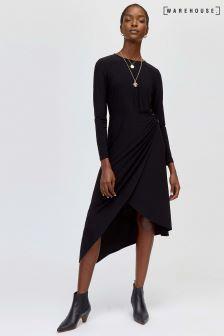 Warehouse Black O Ring Slinky Dress