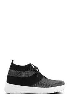 FitFlop™ Black/Charcoal Uberknit™ Slip-On High Top Sneaker