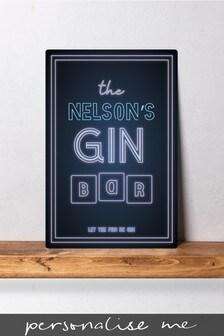Personalised Gin Bar Metal Wall Art/Metal Sign