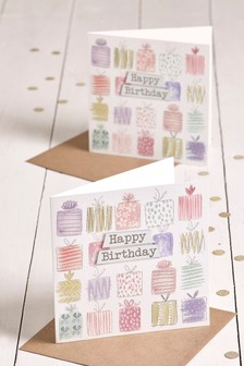 Set Of 2 Present Birthday Cards
