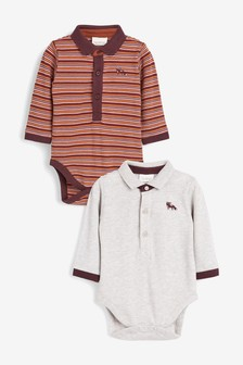 2 Pack Stripe Poloshirt And Bodysuit Set (0mths-2yrs)
