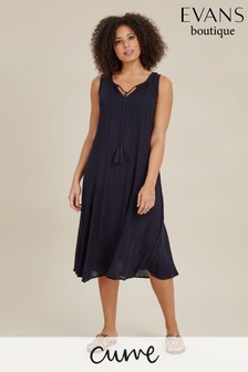 Evans Blue Curve Sleeveless Crinkle Dress
