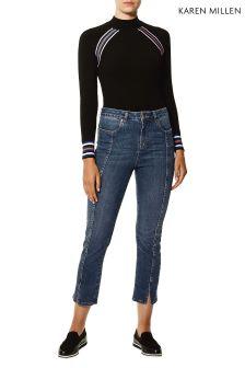 Karen Millen Blue Split Front Jeans