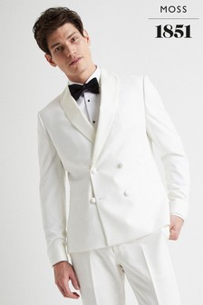 Moss London Skinny Fit White Tuxedo Jacket