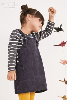 Mintie by Mint Velvet Navy Cord Pinafore Dress