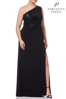 Adrianna Papell Black Plus Sequin Mesh One Shoulder Gown