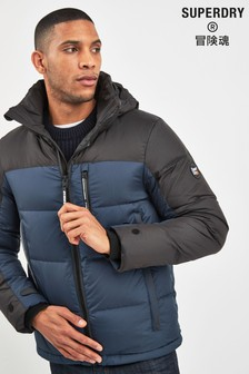 Superdry Blue Down Hooded Coat
