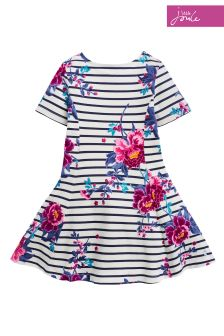 Joules Cream Stripe Erin Jersey Skater Dress