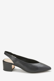 Leather Block Slingbacks
