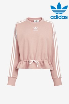 adidas Originals Pink Cropped Cute Crew Sweatshirt