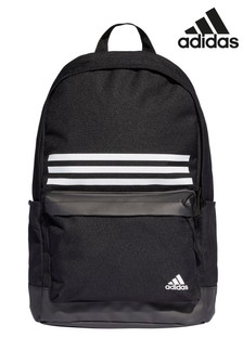 adidas Black Classic 3 Stripe Pocket Backpack