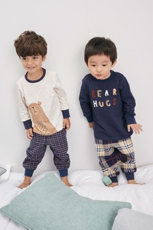 2 Pack Bear Hugs Check Woven Pyjamas (9mths-8yrs)
