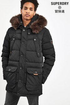 Superdry Black Parka Coat