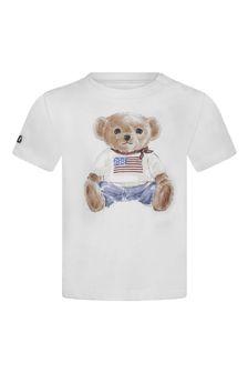 Ralph Lauren Kids Baby Boys White Bear T-Shirt