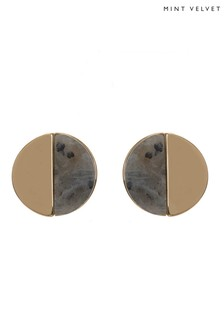 Mint Velvet Gold Blocked Stone Stud Earring