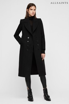 AllSaints Black Blair Formal Wool Overcoat