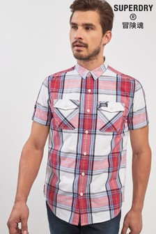 Superdry Red Basket Check Short Sleeve Gingham Shirt