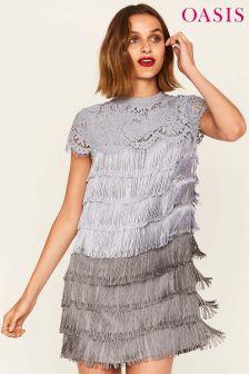 Oasis Grey Ombre Fringe Shift Dress