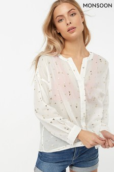 Monsoon Ladies White Thelma Foil Print Shirt