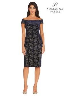 Adrianna Papell Blue Velvet Short Dress