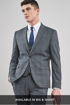 Tailored Fit Prince Of Wales Check Suit