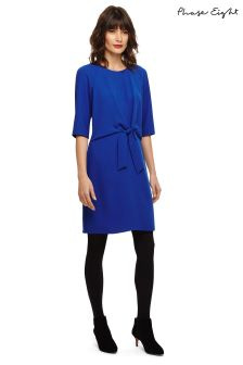 Phase Eight Blue Christina Tie Front Dress