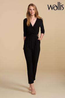 Wallis Petite Black Ring Side Jumpsuit