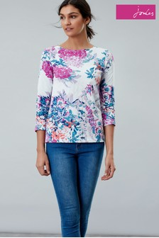 Joules Cream Harbour Printed Leightweight Jersey Top