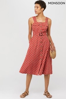 Monsoon Ladies Orange Liza Spot Midi Pinnie Dress