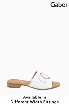 Gabor Fresh White Leather Mules