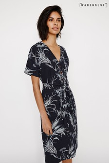 Warehouse Blue Summer Rushes Tab Sleeve Dress