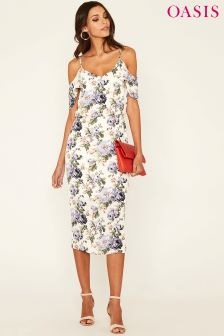 Oasis Natural Rose Column Midi Dress