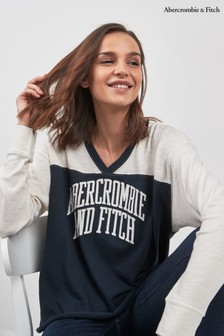 Abercrombie & Fitch Navy Long Sleeve Logo Tee