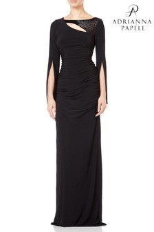 Adrianna Papell Black Long Jersey Dress