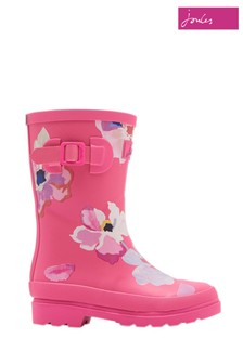 Joules Pink Floral Printed Welly