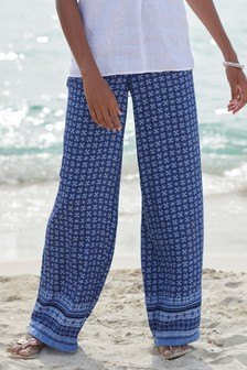 Geo Print Wide Leg Trousers