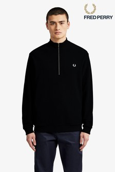 Fred Perry Black Zip Neck Pique Top