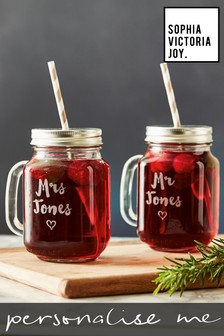 Personalised Set of 2 Wedding Mason Jars by Sophia Victoria Joy