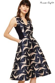 Phase Eight Navy Delaphine Jacquard Dress