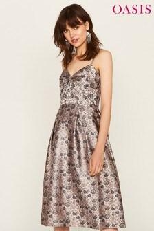Oasis Grey Twist Front Jacquard Midi Dress